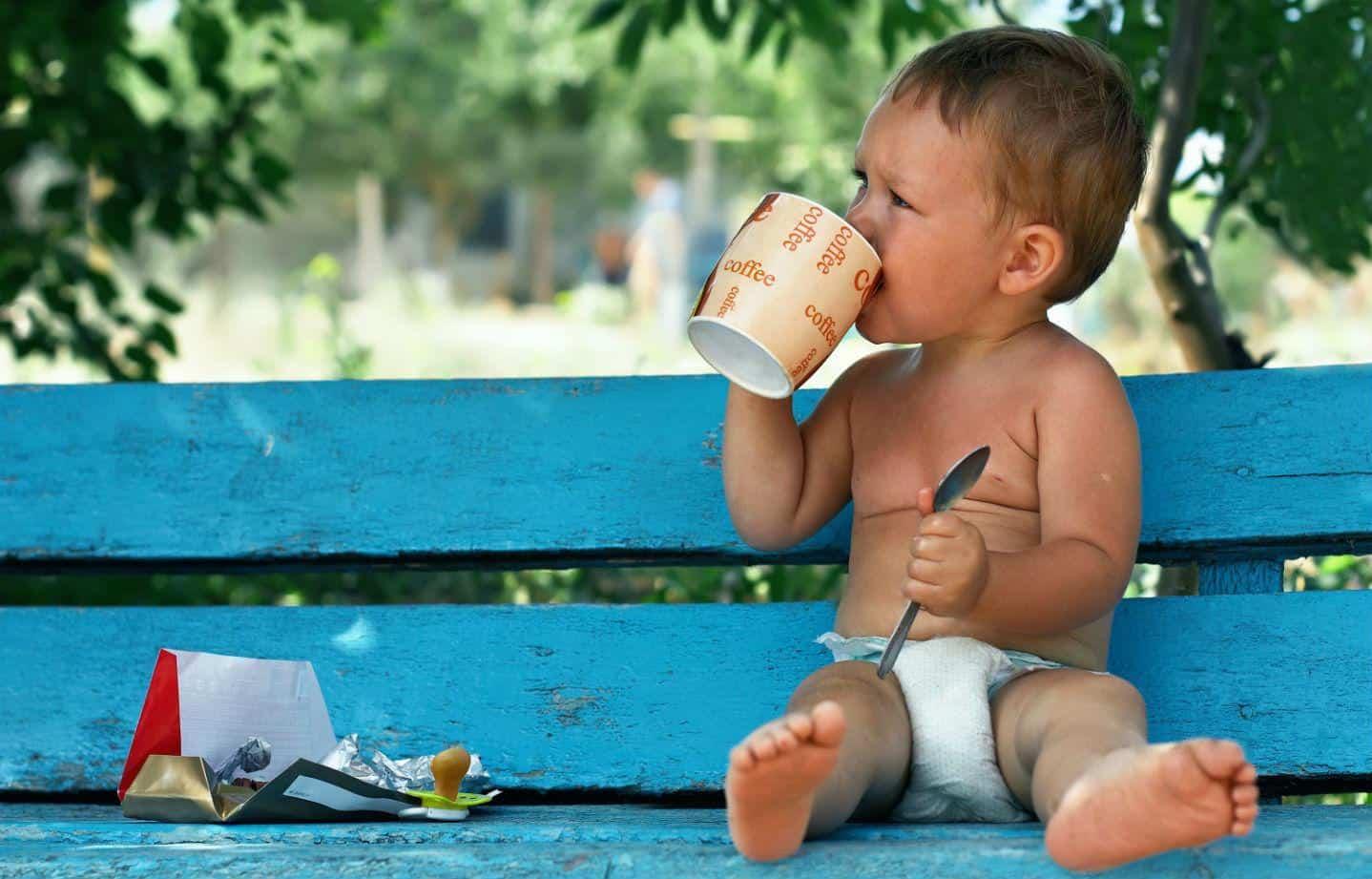 kids drinking coffee